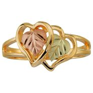 Black Hills Gold Tricolor 10K Gold Ladies' Double Heart Ring at Kmart.com