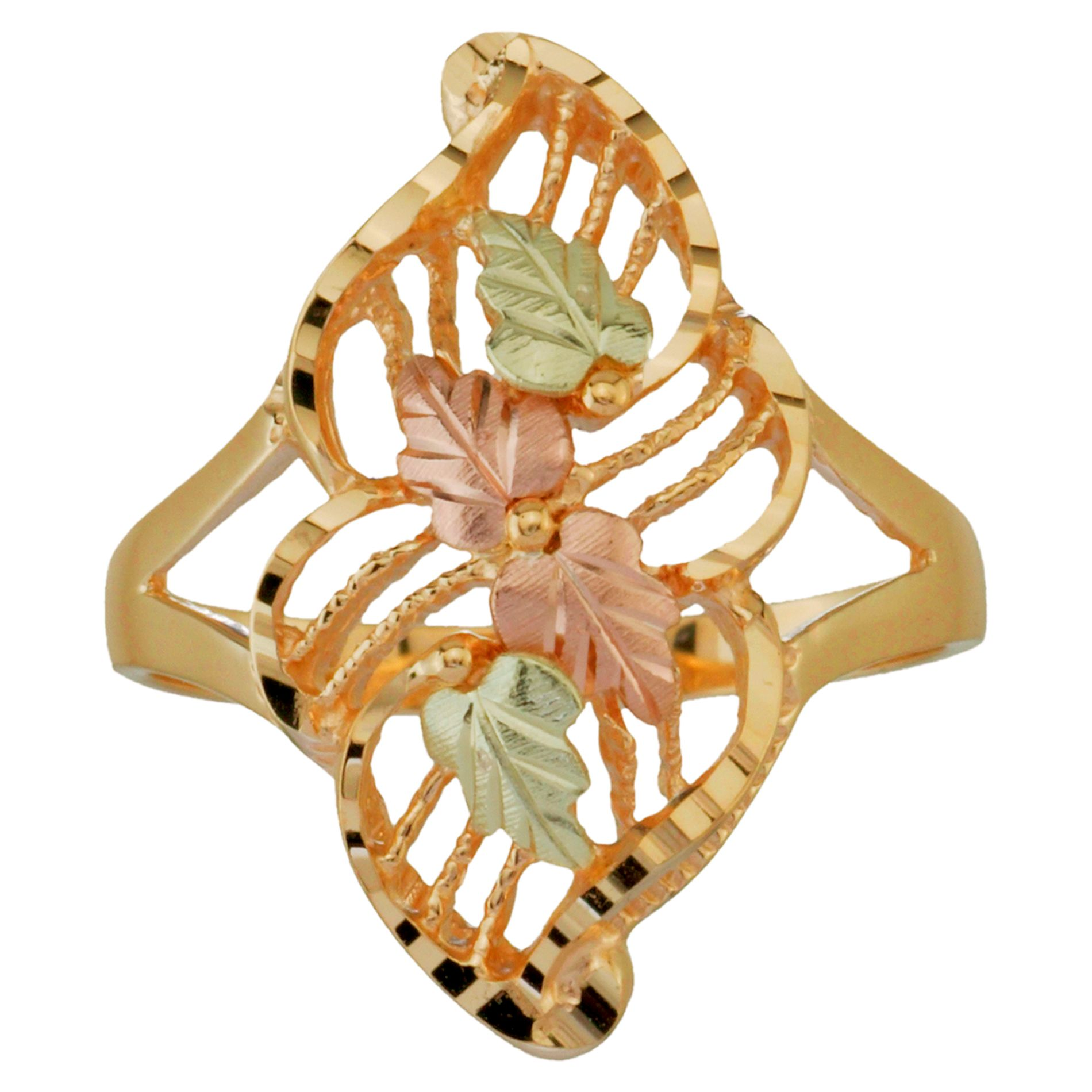 Tricolor 10K Gold Ladies' Elongated Leaf Ring