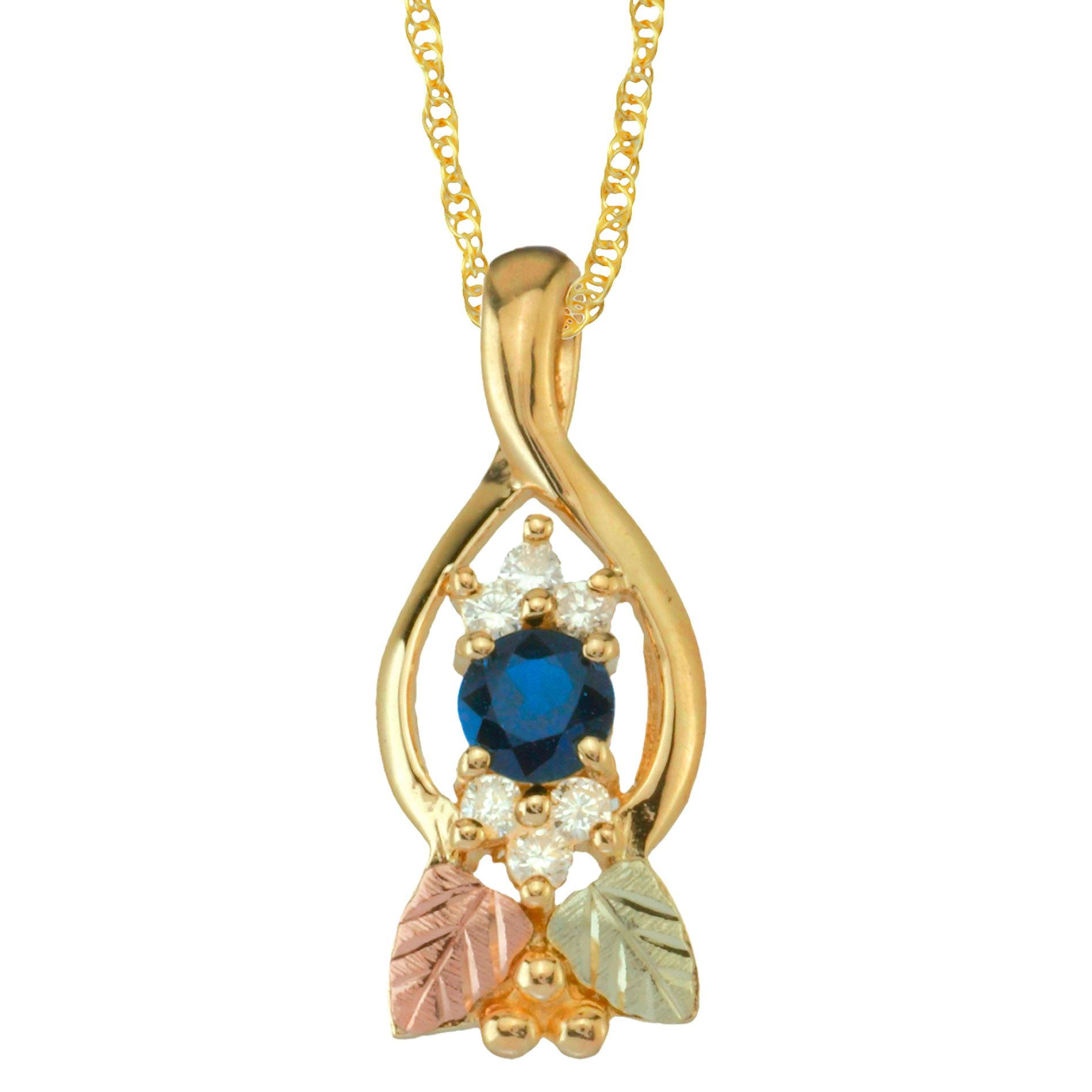 Tricolor 10K Sapphire and Diamond Accent Pendant