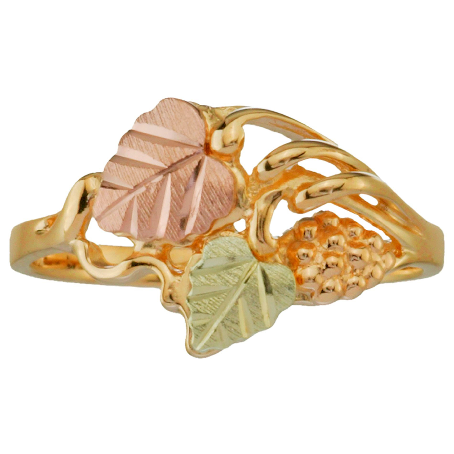 Tricolor 10K Gold Ladies' Leaf Ring