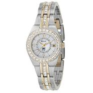 Relic Ladies Calendar Date Watch w/Crystal White Mother-of-Pearl Dial & GT/ST Band at Sears.com