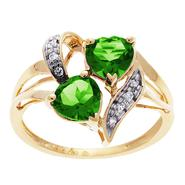 Lab Created Emerald and Diamond Double Heart Ring. 10K Yellow Gold at Kmart.com
