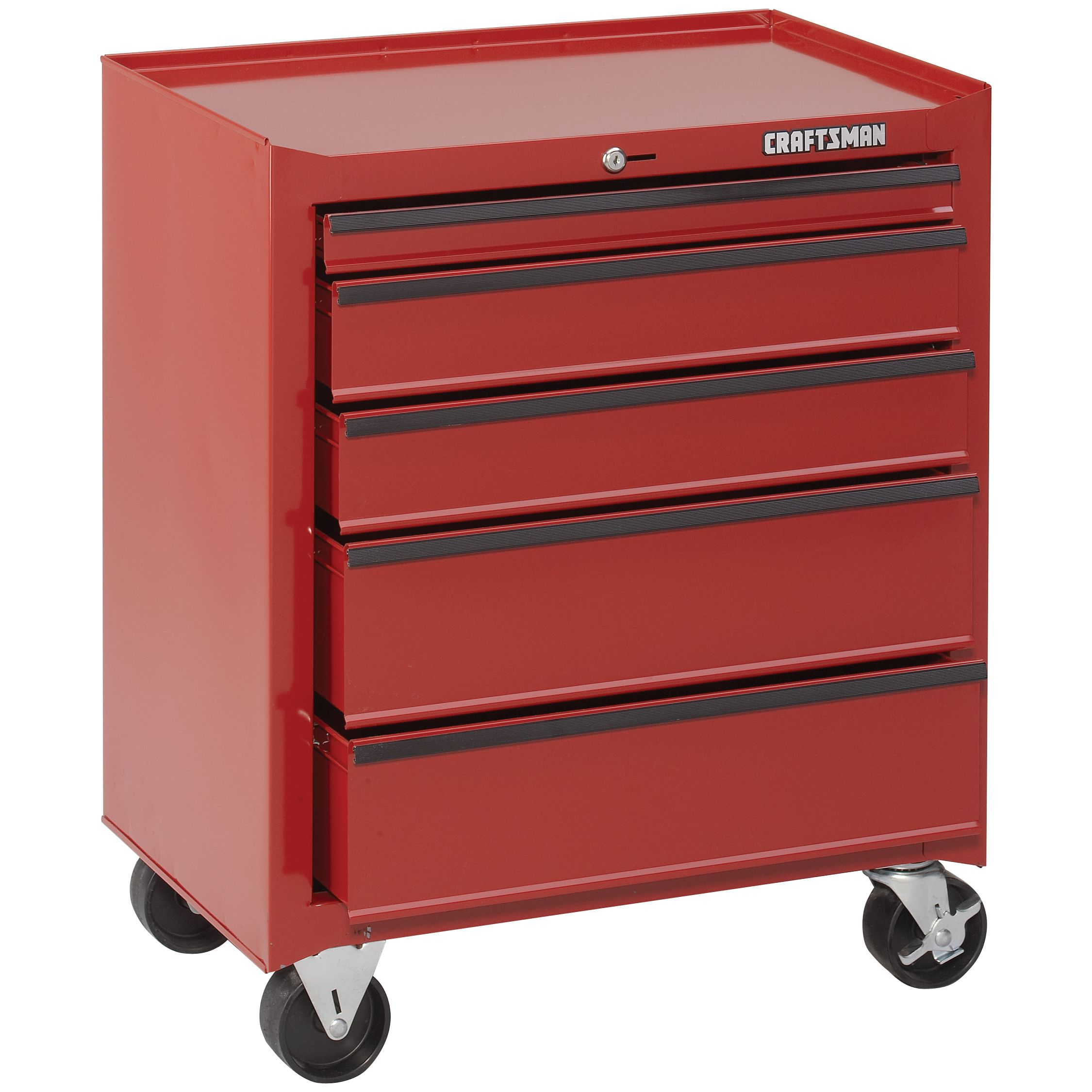 Craftsman 5-Drawer Homeowner Roll-Away with Accessories - Red