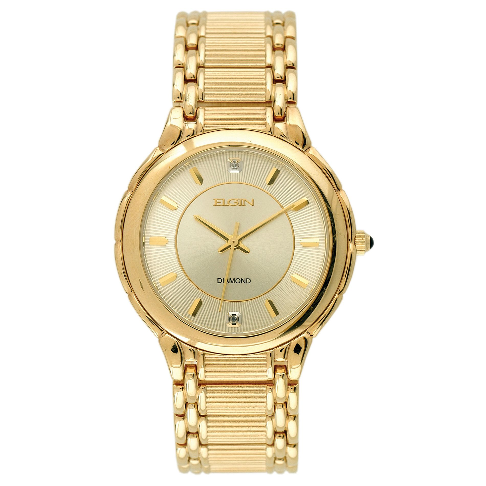 Mens Round Gold Case with Gold Tone Watch