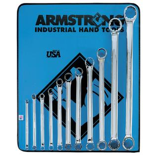 Armstrong 11 pc. 12 pt. Full Polish 15 degree Offset Box Wrench Set in Vinyl Roll Pouch