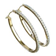 Diamond Oval Hoop Earrings. 14K Yellow Gold at Sears.com