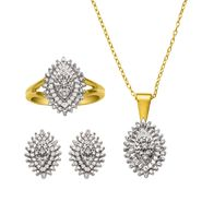 INCREDIBLE BUY! 1/4 cttw Diamond Set. 14k Yellow Gold over Sterling Silver at Sears.com