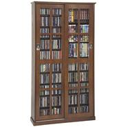 Leslie Dame Sliding Glass Door Mission Style Media Cabinet With Walnut Finish at Kmart.com