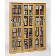 Leslie Dame Sliding Glass Door Mission Style Media Cabinet With Natural Oak Finish at Sears.com