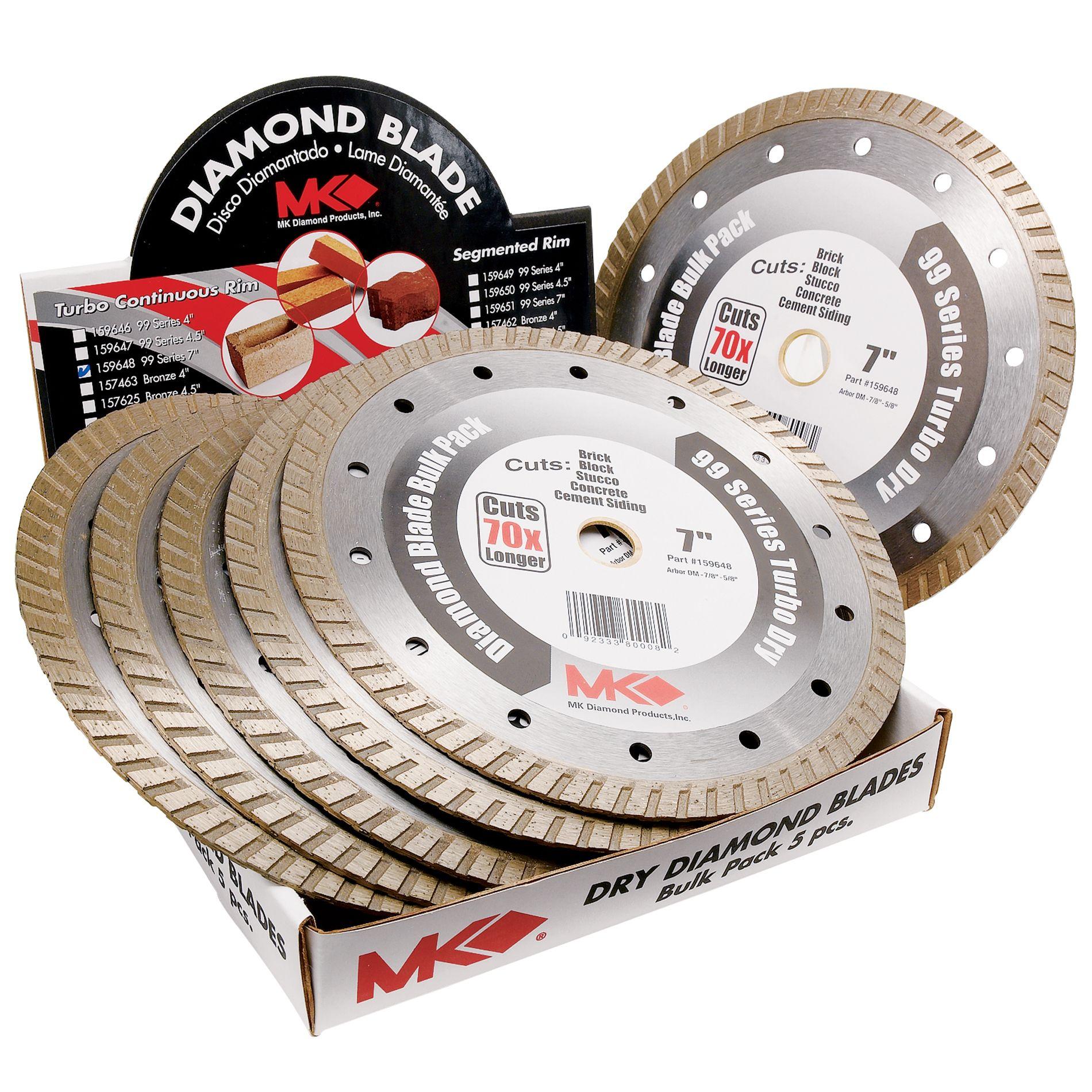 MK Diamond 7 in. Wet/Dry Cutting Turbo Rim Diamond Tile Blades, 6 Pack PartNumber: 00966592000P KsnValue: 65308253 MfgPartNumber: 66592