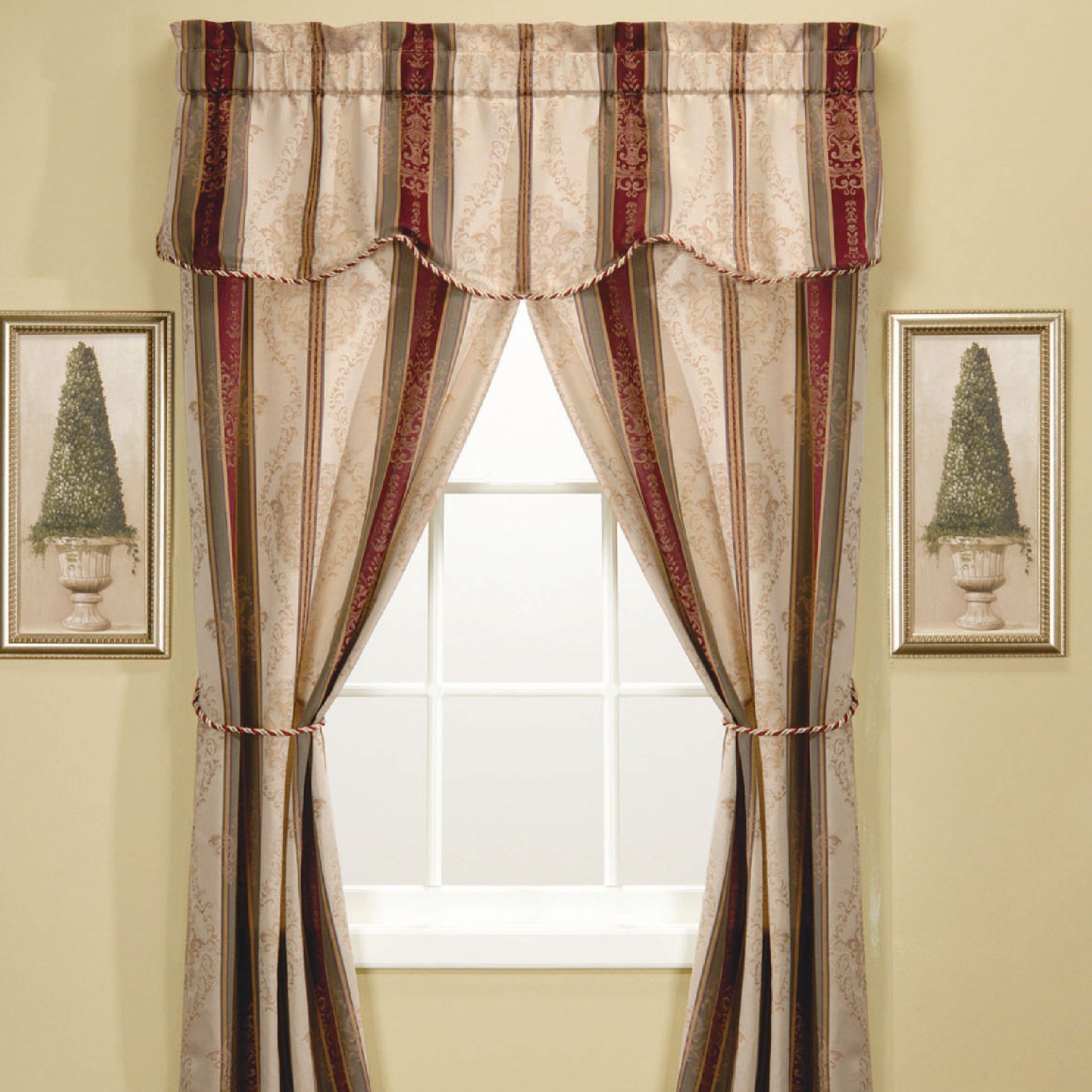 Verona Stripe 5 Piece Window Set - Autumn