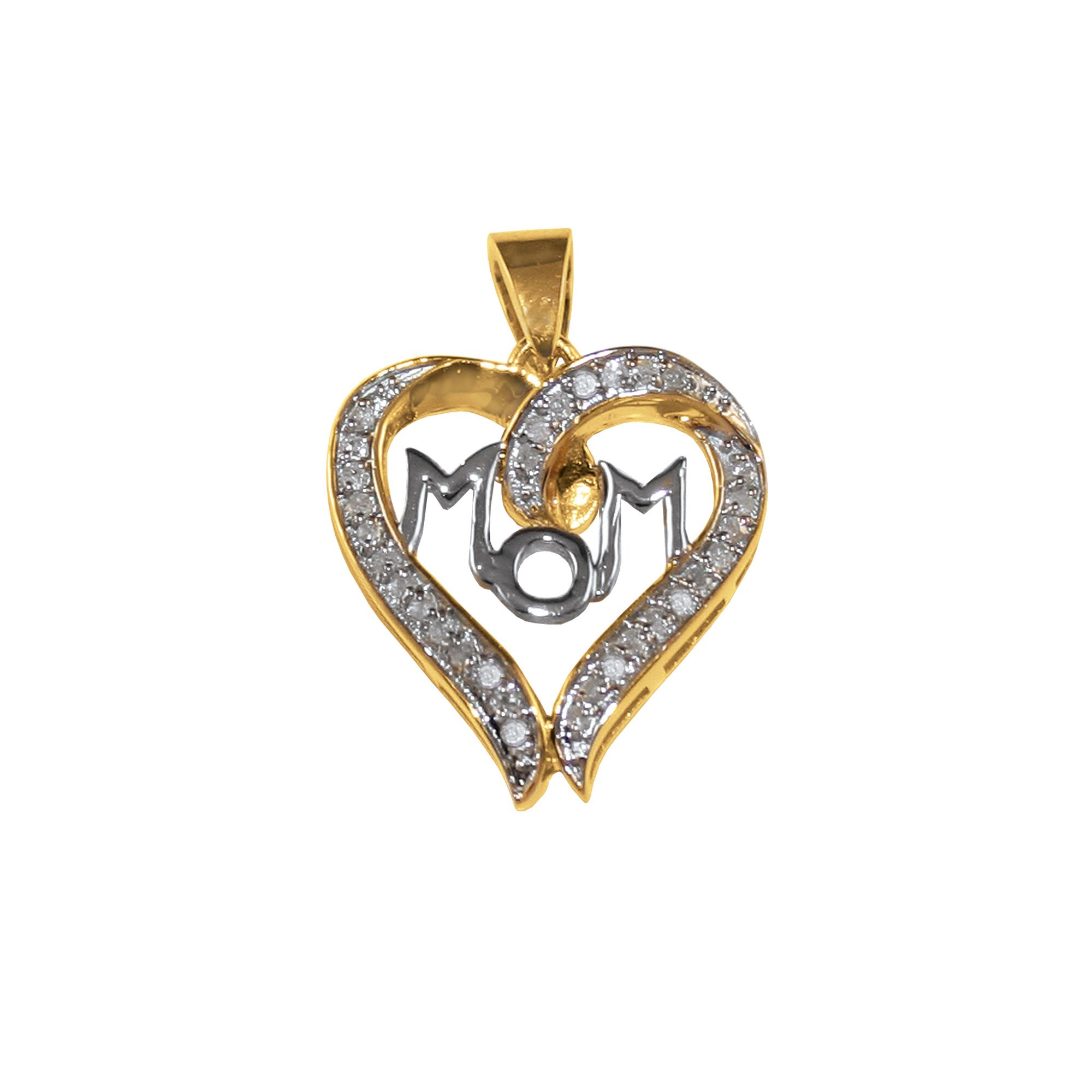 1/4 cttw Diamond Mom Heart Pendant with Chain - 18K Gold over Sterling Silver                                                    at mygofer.com