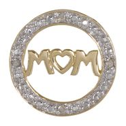 """MOM"" in Circle with Diamonds Charm. 10K Yellow Gold at Sears.com"