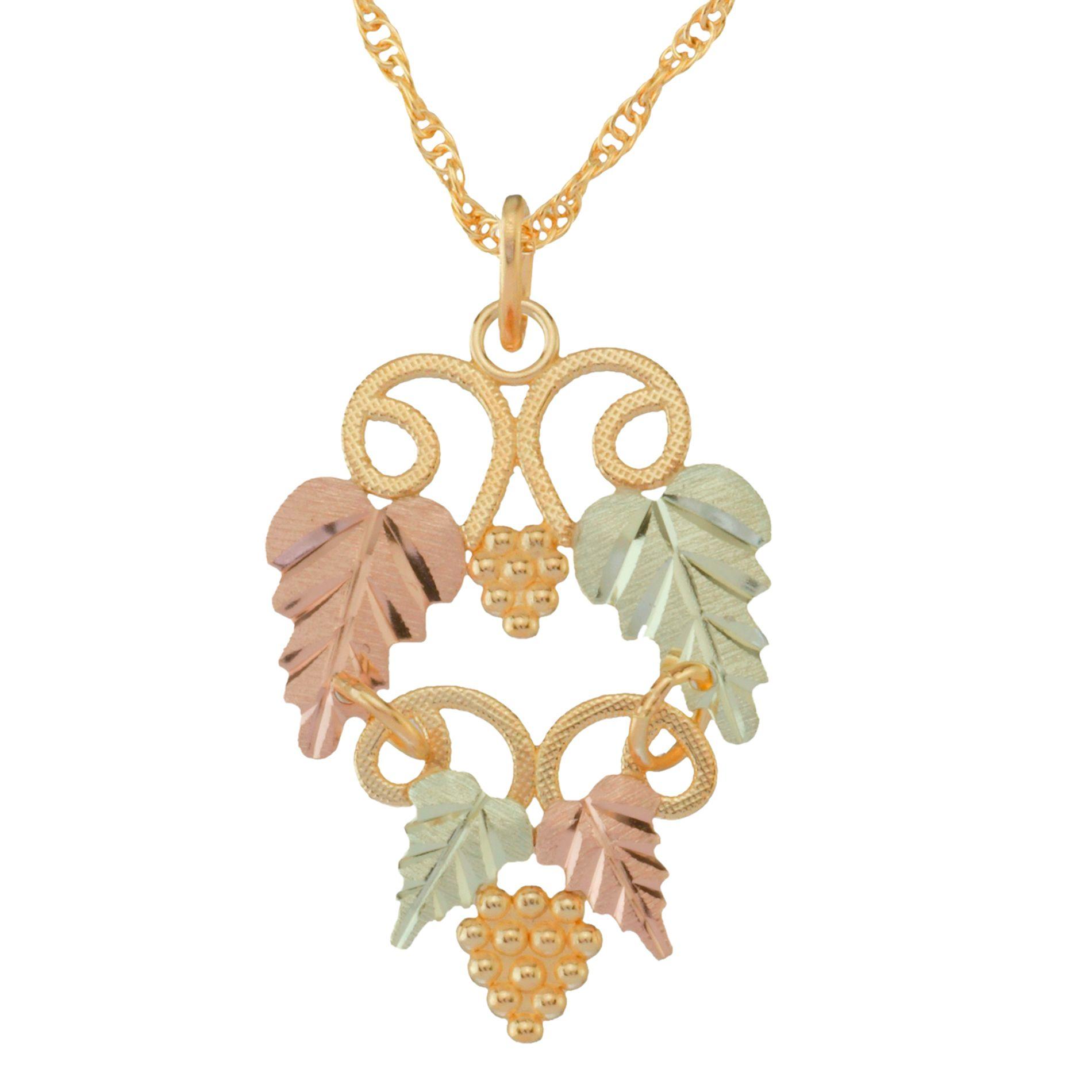 Tri-Color 10K Leaf and Vine Pendant