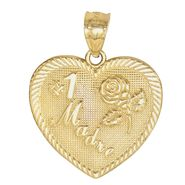 "#1 ""Madre"" Heart Charm. 14K Pink and Yellow Gold at Kmart.com"