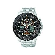 Citizen Mens Eco-Drive Perpetual Calendar Watch w/Black Dial and Silvertone Link Band at Sears.com