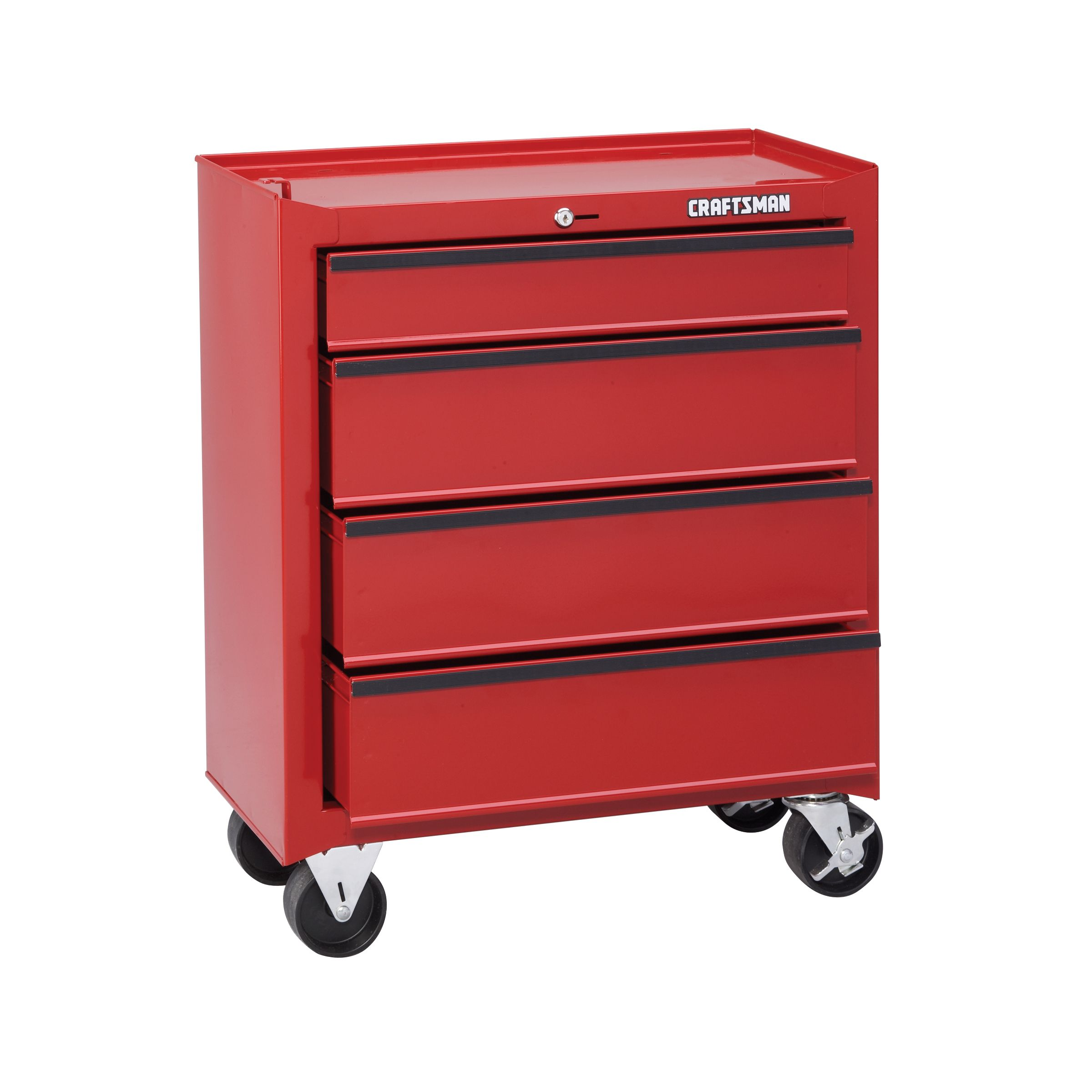 "Craftsman 26-1/2"" 4-Drawer Roll-Away Homeowner Tool Chest - Red"