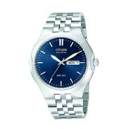 Citizen Mens Calendar Day/Date Eco-Drive Watch w/Round Blue Dial & Silvertone Link Band at Sears.com
