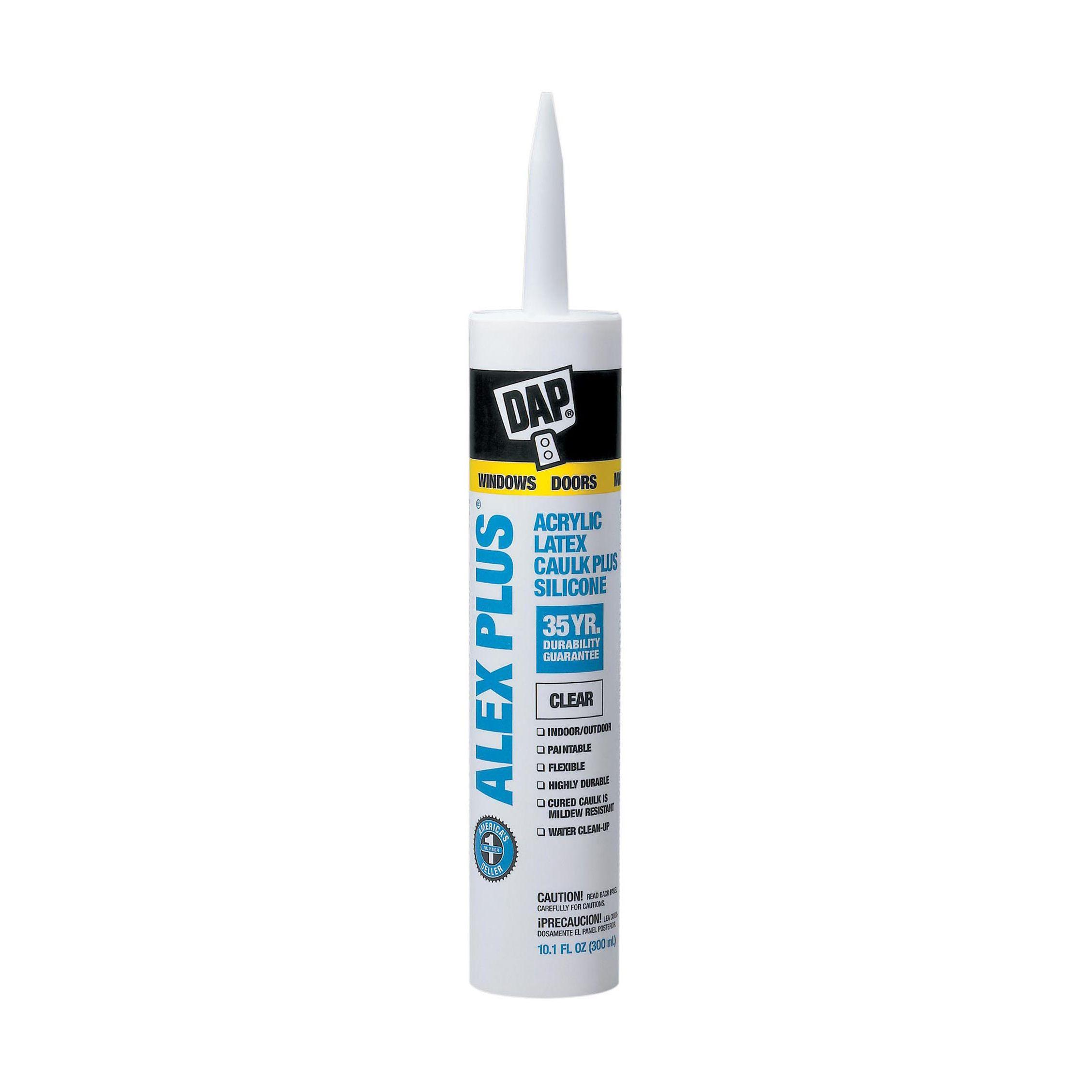 Dap ALEX PLUS® Acrylic Latex Caulk Plus Silicone, Crystal Clear - 10.1 fl. oz.