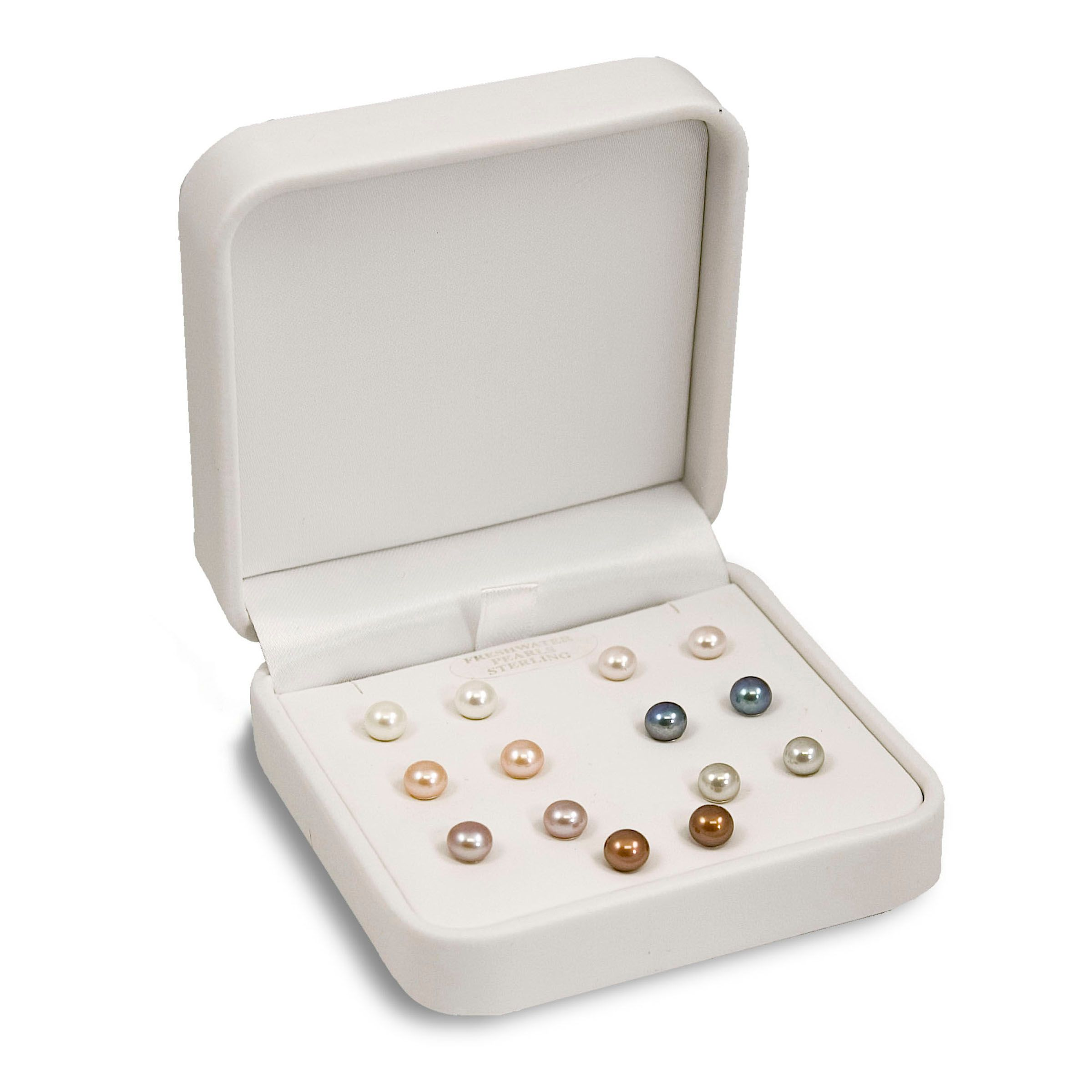 Seven pairs of 6-7mm Cultured Freshwater Pearl studs in multiple colors. Set in Sterling Silver                                  at mygofer.com