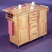 "Home Styles 36""H x 52-1/2""W x 18""D Wood Kitchen Cart with Wood Drop Leaf Breakfast Bar. at Sears.com"