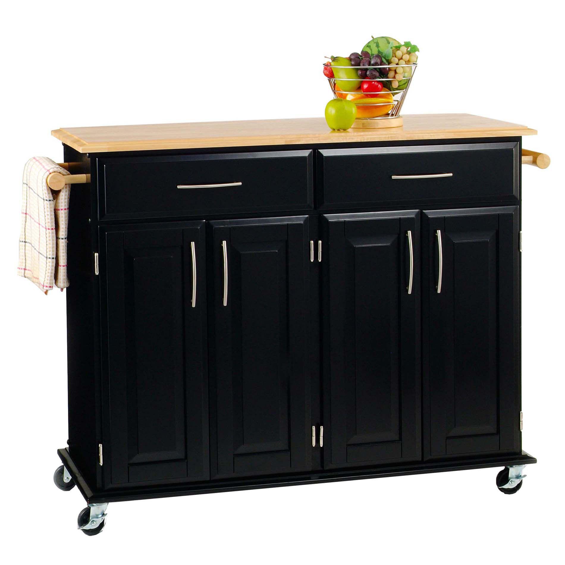 3512h x 4814w x 1814d solid wood top kitchen island cart