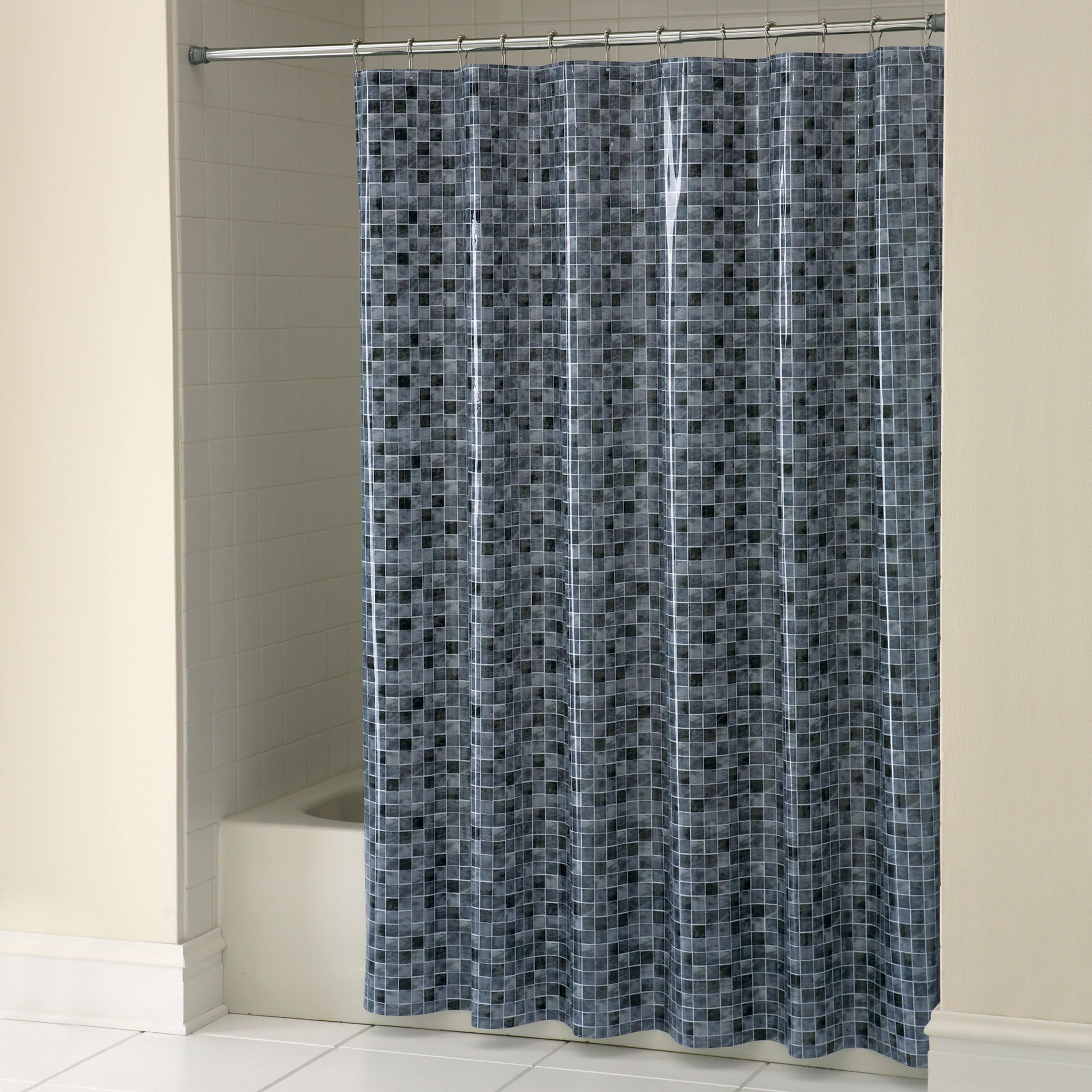 Essential Home Shower Curtain Spanish Tile Vinyl
