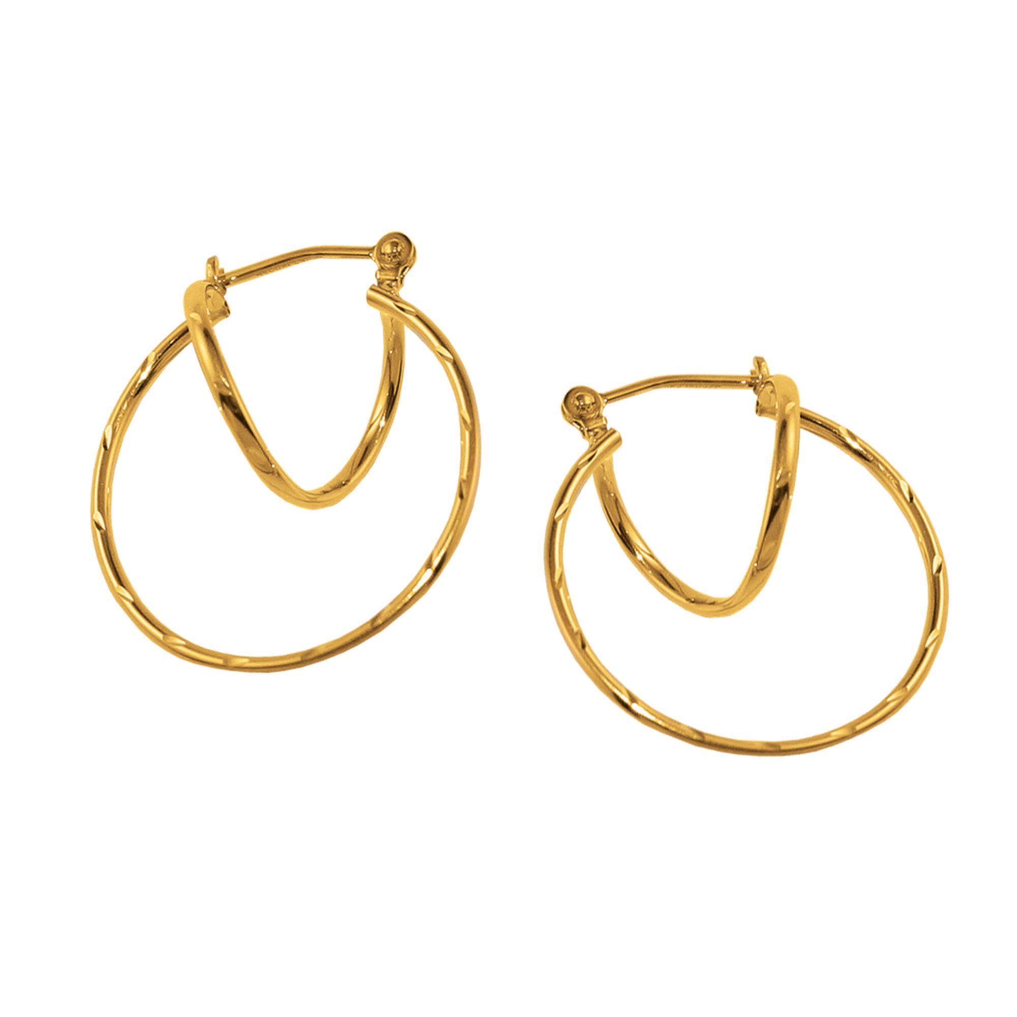 Diamond Cut Orbitz Hoop Earrings 10K
