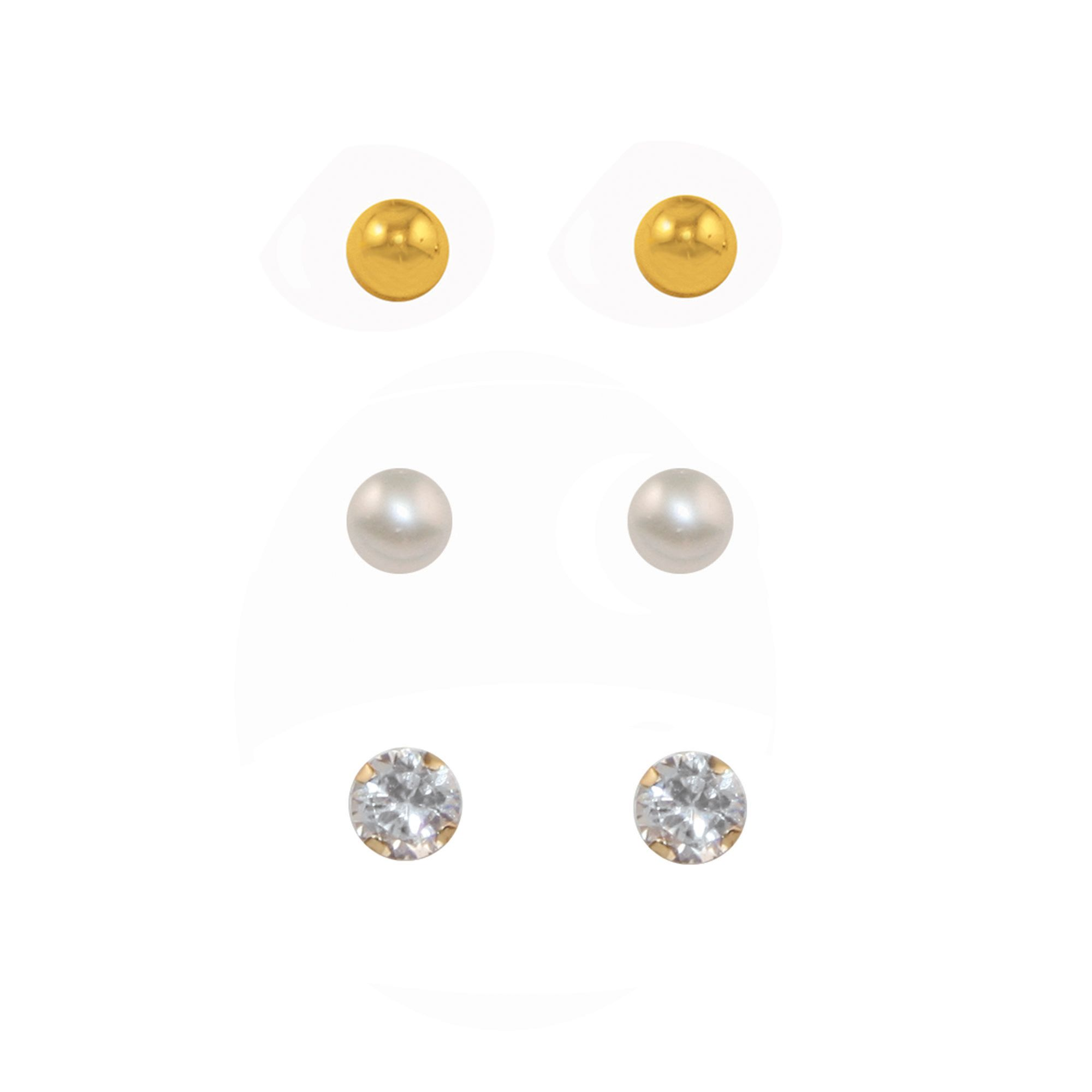3 Pair Stud Set-3MM Gold Ball/ Pearl/ CZ