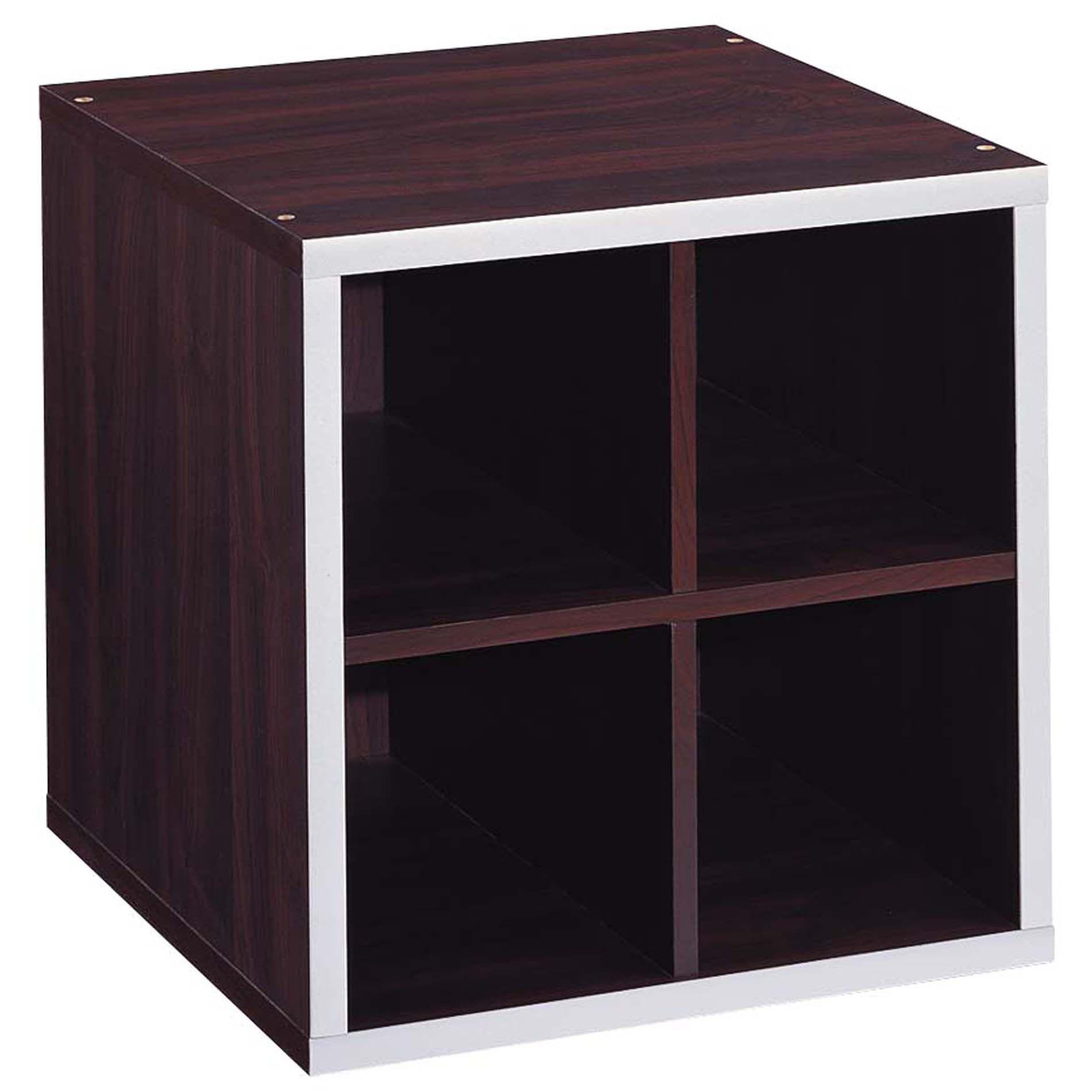Neu Home e 4-Section Storage Cub - Espresso/Silver Trim