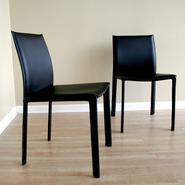 "Baxton Ares Set of 2 18-1/2""H Leather Dining Chairs - Black at Kmart.com"