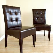 Baxton Beatrice Set of 2 Leather Dining Chairs - Dark Brown at Kmart.com