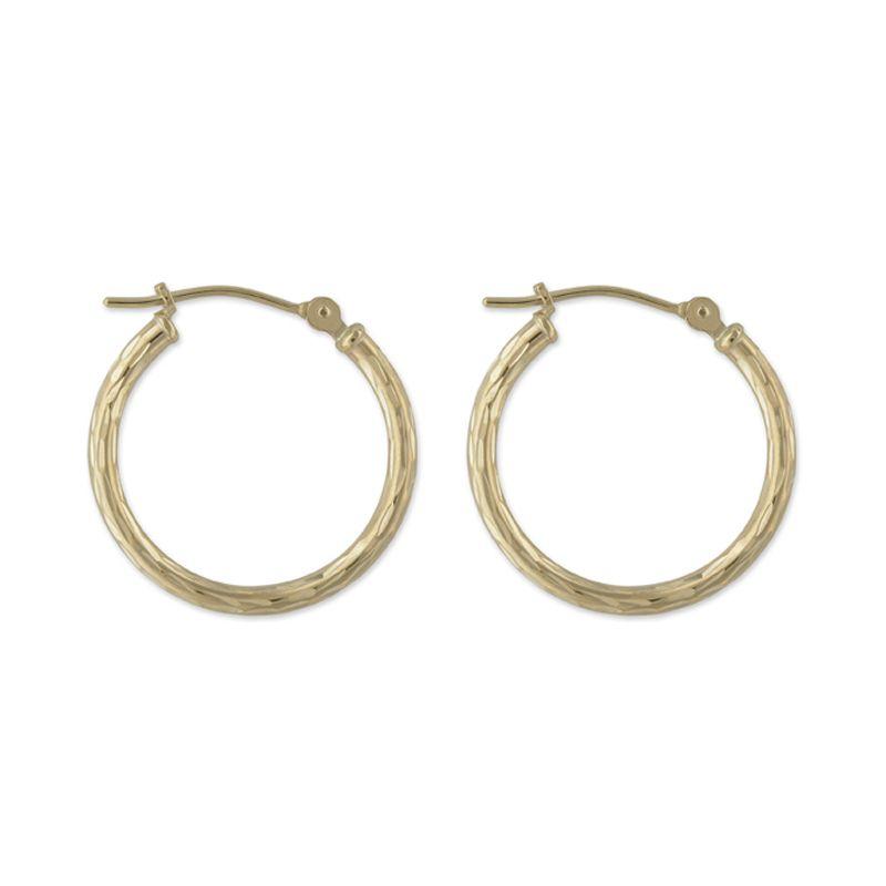 14k Yellow Gold Hoop Earrings with Full Diamond Cut
