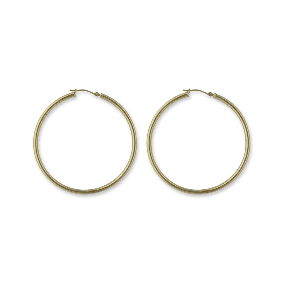 14k Yellow Gold Tube Hoop Earrings