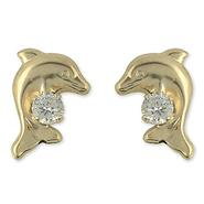 Disney 14k Yellow Gold  Dolphin Earrings With Cubic  Zirconia  Accents at Sears.com