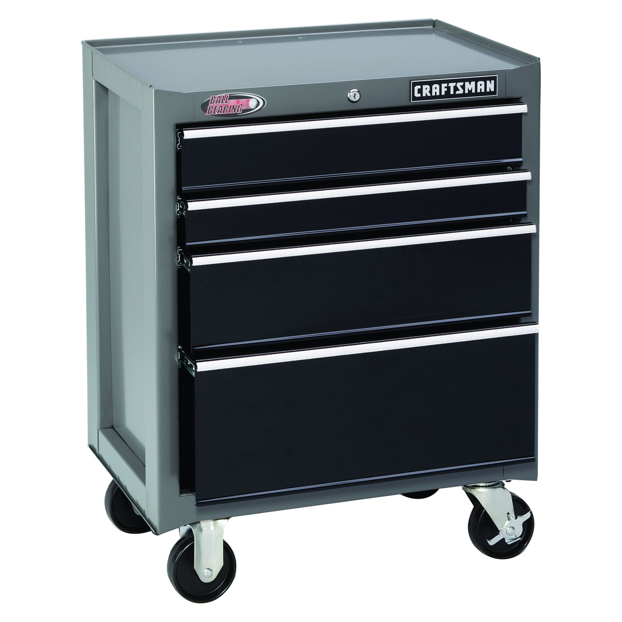 "Craftsman 26"""" Wide 4-Drawer Ball-Bearing Bottom Chest - Platinum/Black"