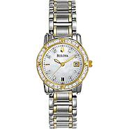 Bulova Ladies Calendar Date Watch with Round Diamond Accent Dial and GT & ST Link Band at Sears.com
