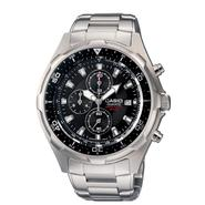 Casio Mens Calendar Date Chronograph Watch w/Round Black Dial & Silvertone Link Band at Sears.com