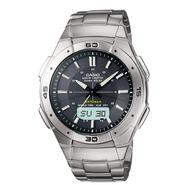 Casio Mens Calendar Day/Date Atomic Watch w/Round Black Dial & Silvertone Link Band at Sears.com
