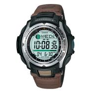 Casio Mens Calendar Day/Date Fishing Timer Watch w/Round Green Dial & Brown Band at Sears.com