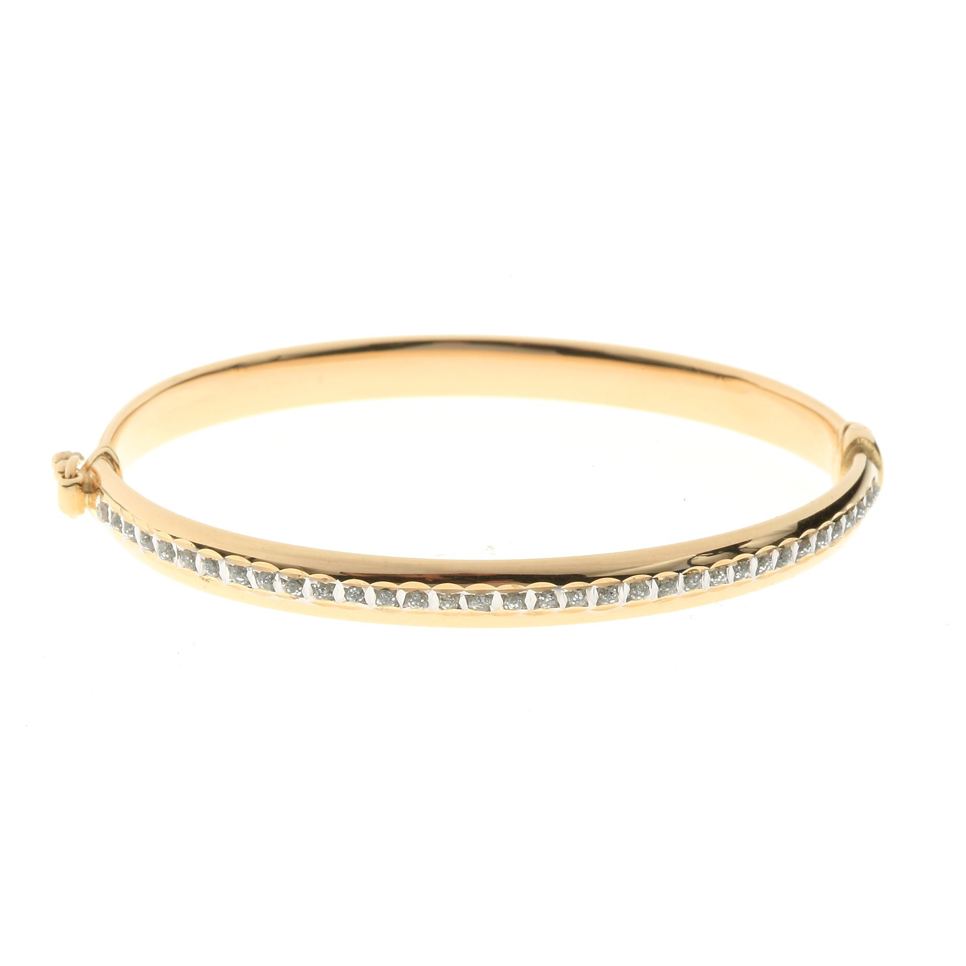 14k Yellow Gold Diamond Accent Baby Bangle