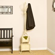 "Southern Enterprises 72""H x 18.5""W x 18.5""D Hall Tree With Rattan Storage - Ivory at Kmart.com"