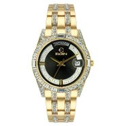 Elgin Mens Calendar Day/Date Watch w/Crystal Goldtone Case/Black Dial & GT Link Band at Sears.com