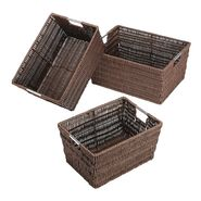 Essential Home Set of Three Java Rattique Storage Baskets at Kmart.com