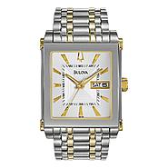 Bulova Mens Calendar Day/Date Watch with Square White Dial & GT/ST Link Band at Sears.com
