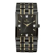 Bulova Mens Dress Watch w/Diamond Accent Black Dial & Black/Goldtone Link Band at Sears.com