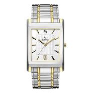 Bulova Mens Calendar Date Watch w/Diamond Accent White Square Dial & GT/ST Link Band at Sears.com
