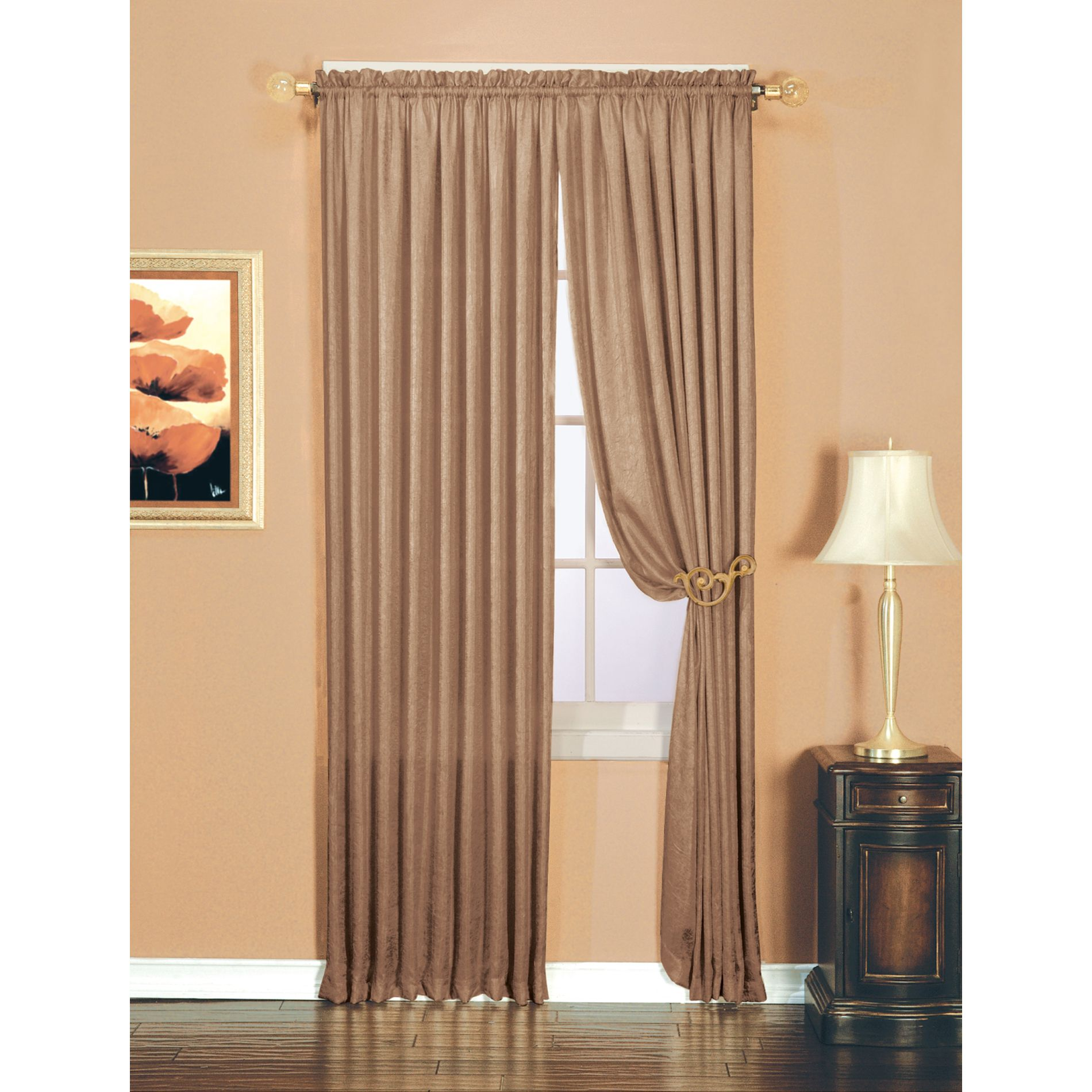 Luxury Crushed Faux Silk Window Panel Taupe