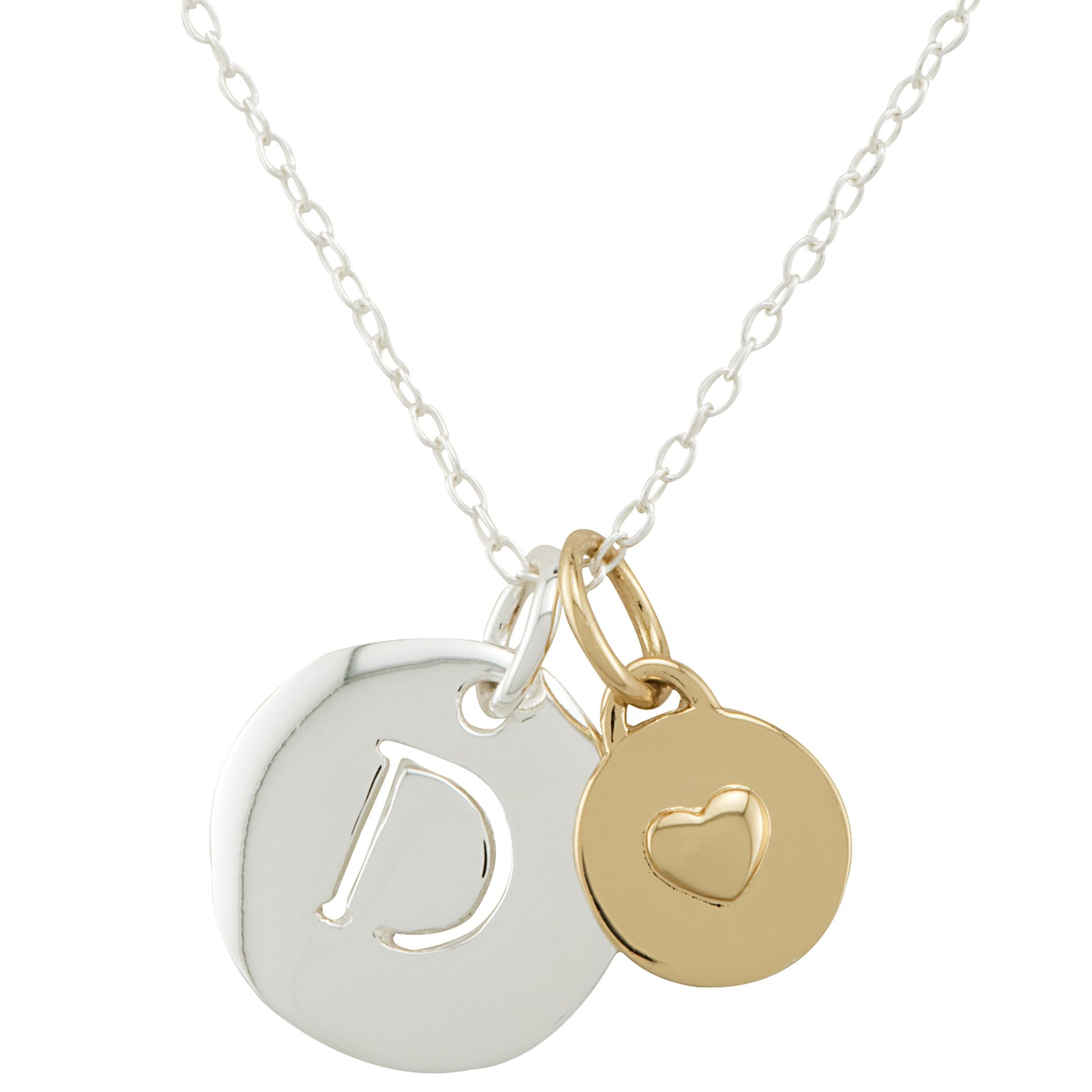 Sterling Silver D Initial Pendant with Gold Heart
