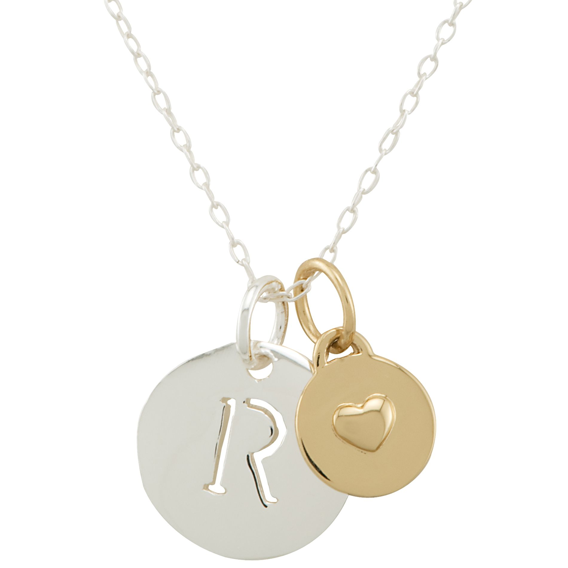 Sterling Silver R Initial Pendant with Gold Heart